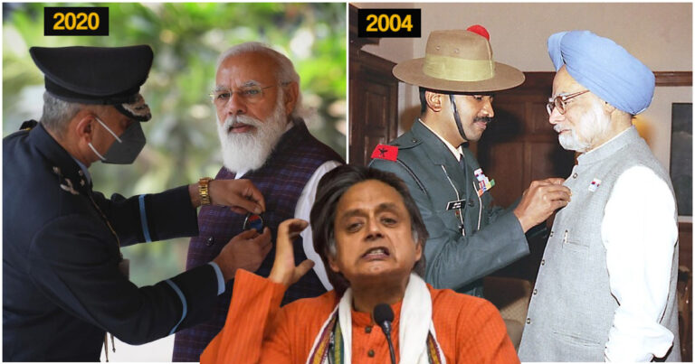 Shashi Tharoor Asks Why PM Modi Had Shared Picture Of Being Felicitated On Armed Forces Flag Day, Fails To Realize Manmohan Singh Had Shared Similar Picture Too